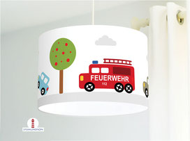 Lampe für Jungs und Babyzimmer mit Autos aus Baumwollstoff - alle Farben möglich