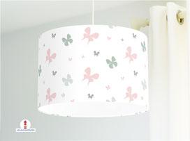 Lampe Kinderzimmer Schmetterlinge mint altrosa aus Bio-Baumwolle - alle Farben möglich