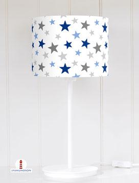 Tischlampe Kinderzimmer Sterne Junge aus Baumwolle - alle Farben möglich