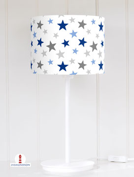 Lampenschirm für Tischlampe Kinderzimmer Sterne Junge aus Baumwolle - alle Farben möglich