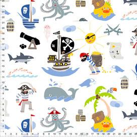 Stoff für Jungs und Kinderzimmer mit Piraten zum Nähen aus Baumwolle - alle Farben möglich