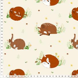 Stoff für Kinderzimmer mit Waldtieren auf Beige aus Baumwolle zum Nähen - alle Farben möglich