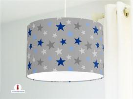 Lampe für Kinderzimmer mit Sternen in Blau und Grau aus Baumwolle - alle Farben möglich