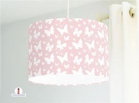 Lampe Kinderzimmer Mädchen Schmetterlinge Altrosa aus Bio-Baumwolle - alle Farben möglich