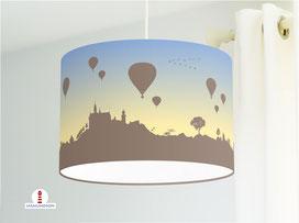 Lampe für Schlafzimmer mit Heißluftballons Sonnenuntergang aus Baumwolle - alle Farben möglich