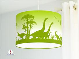 Lampe Kinderzimmer Dinosaurier in Grün aus Bio-Baumwollstoff - alle Farben möglich