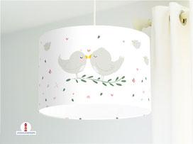 Lampe Babyzimmer Vögel in Weiß aus Bio-Baumwolle - alle Farben möglich