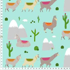 Bio-Stoff für Kinder mit Lamas auf Mint-Grün zum Nähen aus Baumwolle - alle Farben möglich