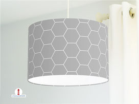 Schlafzimmer Lampe mit Hexagon in Grau aus Baumwollstoff - alle Farben möglich