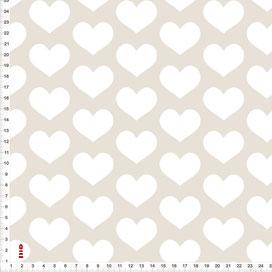 Stoff Mädchen Kinderzimmer mit Herzen Weiß auf Beige aus Baumwolle - alle Farben möglich