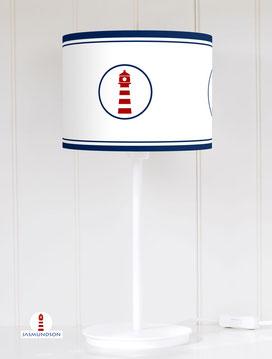 Lampenschirm für Tischlampe maritim mit Leuchtturm in Blau und Weiß aus Baumwollstoff - alle Farben möglich