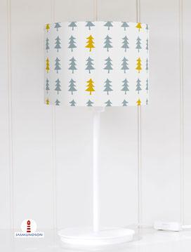 Tischlampe Wald Bäume Graublau und Senfgelb auf Hellgrau aus Baumwolle - alle Farben möglich