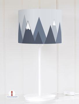 Tischlampe Kinderzimmer Berge in Graublau aus Baumwolle - alle Farben möglich