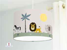 Lampe Kinderzimmer Safari Tiere Afrika aus Bio-Baumwollstoff - alle Farben möglich