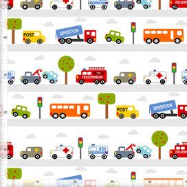 Bio-Stoff für Jungs und Kinderzimmer mit Autos zum Nähen aus Baumwolle - alle Farben möglich