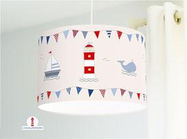 Lampe für Kinderzimmer und Babys in maritimem Design aus Baumwollstoff - andere Farben möglich