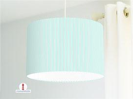 Lampe für Babys und Kinderzimmer mit schmalen Streifen in hellem Mint aus Bio-Baumwollstoff - alle Farben möglich