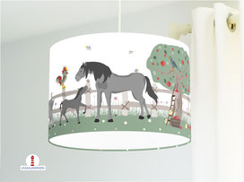 Lampe Kinderzimmer Bauernhof Tiere aus Baumwollstoff - alle Farben möglich