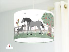 Lampe Kinderzimmer Bauernhof Tiere aus Bio-Baumwollstoff - alle Farben möglich