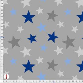 Bio-Stoff Kinderzimmer Sterne Blau und Grau aus Baumwollstoff - alle Farben möglich