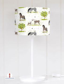 Lampenschirm für Tischlampe Pferde Mädchen aus Baumwollstoff - alle Farben möglich