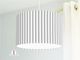 Lampenschirm für Kinderzimmer mit Streifen in Grau aus Baumwollstoff - alle Farben möglich