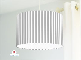 Lampenschirm für Kinderzimmer mit Streifen in Grau aus Bio-Baumwollstoff - alle Farben möglich