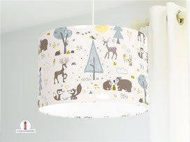 Lampe Kinderzimmer Waldtiere Fuchs Bär Ocker Grau auf Beige aus Bio-Baumwollstoff - alle Farben möglich