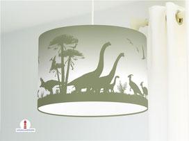 Lampe Dinosaurier Kinderzimmer in Olive-Grün aus Bio-Baumwollstoff - alle Farben möglich