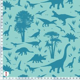Bio-Stoff Kinderzimmer Dinosaurier in Petrol und Türkis aus Bio-Baumwolle - alle Farben möglich