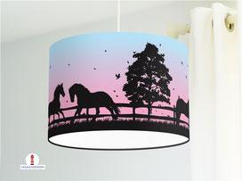 Kinderzimmer Lampe Pferde Mädchen in Schwarz auf Türkis und Rosa aus Bio-Baumwolle - alle Farben möglich