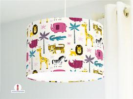Lampe Kinderzimmer Safari Tiere Rosa Türkis aus Bio-Baumwollstoff - alle Farben möglich