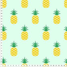 Bio-Stoff für Schlafzimmer mit Ananas in Mintgrün aus Baumwolle zum Nähen - alle Farben möglich