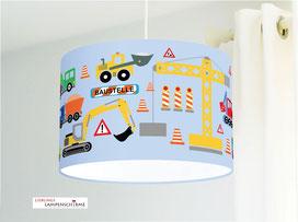 Deckenlampe Kinderzimmer Baustelle in Hellblau aus Bio-Baumwollstoff - alle Farben möglich