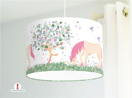 Kinderzimmer Lampe Mädchen Pferde pastell aus Baumwollstoff - alle Farben möglich