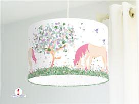 Kinderzimmer Lampe Mädchen Pferde pastell aus Bio-Baumwollstoff - alle Farben möglich