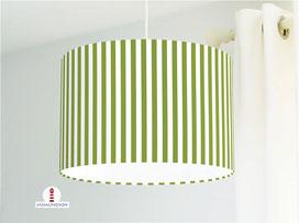 Lampenschirm für Schlafzimmer mit Streifen in Bambusgrün aus Bio-Baumwollstoff - alle Farben möglich