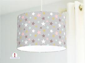 Lampe für Kinderzimmer mit Sternen aus Baumwollstoff - alle Farben möglich