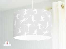 Lampe Fußball Jungs Kinderzimmer in Grau aus Baumwollstoff - alle Farben möglich