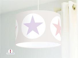 Lampe Sterne Kinderzimmer in Flieder und Altrosa aus Baumwollstoff - alle Farben möglich