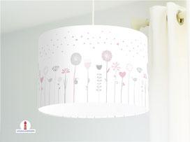 Lampe Kinderzimmer Blumen Grau Rosa auf Weiß aus Bio-Baumwolle - alle Farben möglich