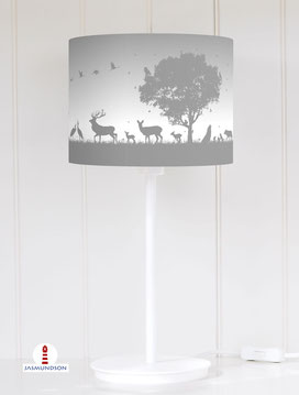Tischlampe für Kinderzimmer mit Waldtieren in Grau aus Baumwollstoff - alle Farben möglich