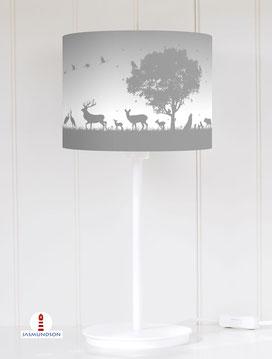 Lampenschirm für Tischlampe für Kinderzimmer mit Waldtieren in Grau aus Baumwollstoff - alle Farben möglich
