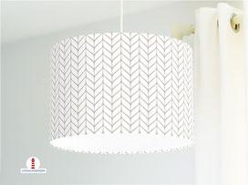 Lampe Strickmuster geometrisch in Weiß und Beige aus Baumwollstoff - alle Farben möglich