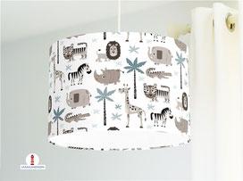 Lampe Kinderzimmer Safari Tiere aus Baumwollstoff - alle Farben möglich
