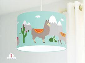 Lampe für Kinderzimmer mit Lamas in Mint-Grün aus Bio-Baumwollstoff - alle Farben möglich