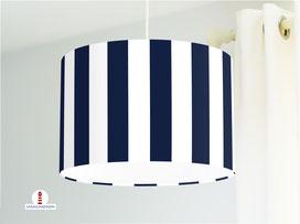 Lampe für Küche und Schlafzimmer mit breiten Streifen in Marine-Blau aus Bio-Baumwollstoff - alle Farben möglich