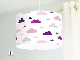Kinderzimmer Lampe Wolken Lila aus Baumwollstoff - alle Farben möglich
