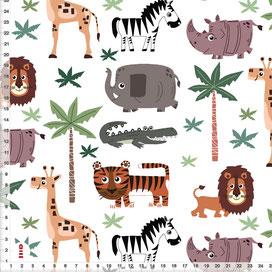 Bio-Stoff Afrika Tiere Safari für Babys Kinderzimmer auf Weiß aus Bio-Baumwolle zum Nähen - alle Farben möglich
