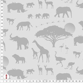 Bio-Stoff für Kinderzimmer mit Afrika-Tieren in Grau aus Baumwolle zum Nähen - andere Farben möglich